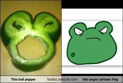 This Bell Pepper Totally Looks Like This Angry Cartoon Frog