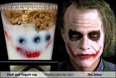 Fruit and Yogurt Cup Totally Looks Like Heath Ledger as The Joker