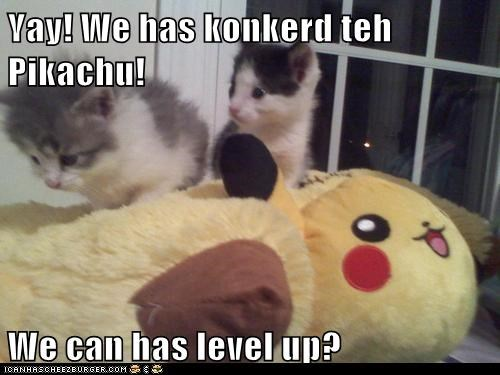 Yay! We has konkerd teh Pikachu!  We can has level up?