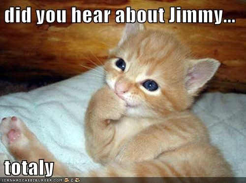 did you hear about Jimmy...  totaly