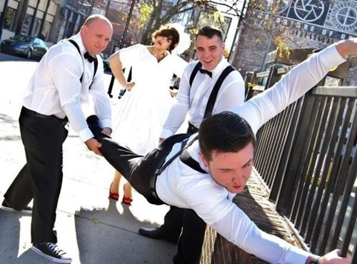 Groomsmen,groom,cold feet,reluctant,drag