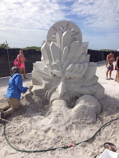 sand sculpture,winter,jack frost