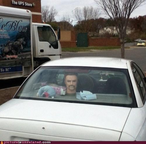 mustache,Staring,car,creepy,head