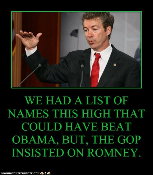 WE HAD A LIST OF NAMES THIS HIGH THAT COULD HAVE BEAT OBAMA, BUT, THE GOP INSISTED ON ROMNEY.