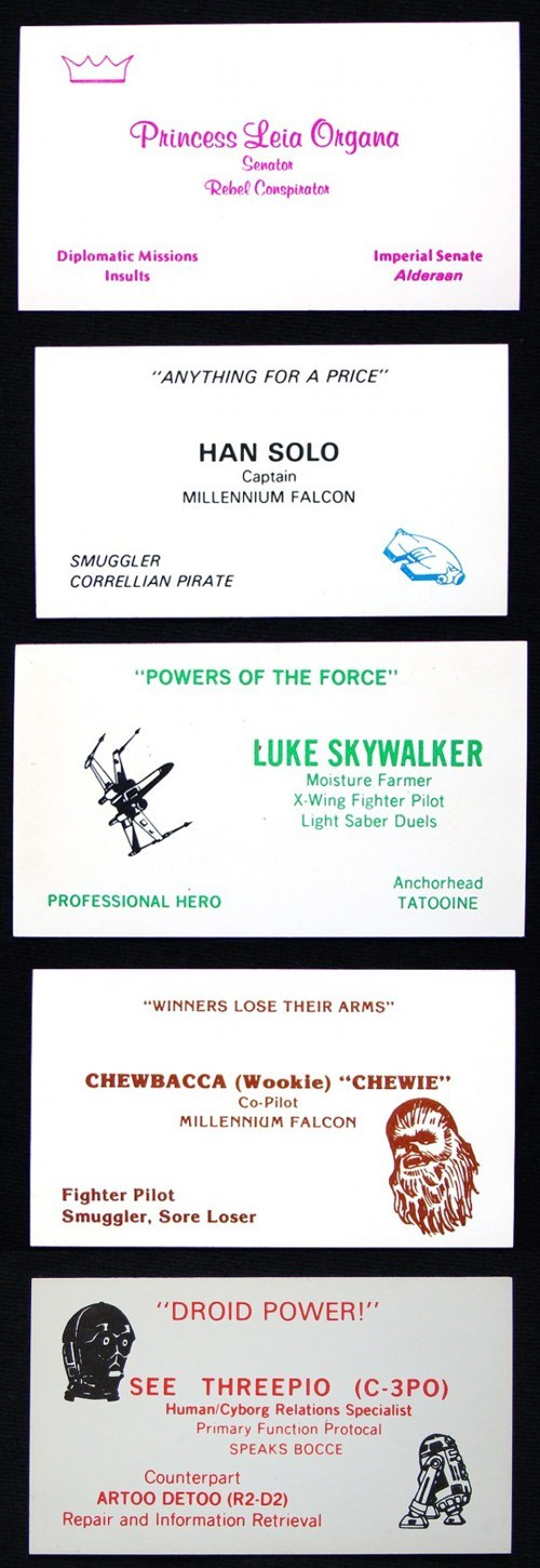 star wars,c3p0,chewbacca,luke skywalker,Han Solo,business cards,Princess Leia