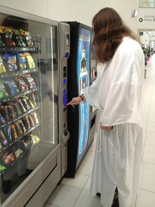 jesus saves,snacks,vending machine