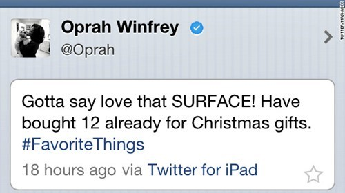 Oprah Plugs Surface Tablet... From Her iPad