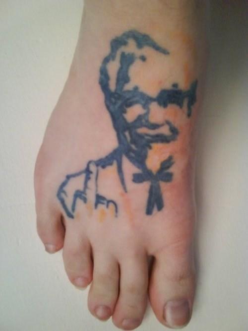 colonel sanders,kfc,foot tattoos