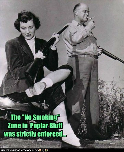 "The ""No Smoking"" Zone in  Poplar Bluff was strictly enforced..."