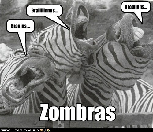zombie,brains,pun,black and white,zebras