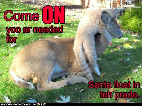 Come *ON* yoo ar needed for Santa float in teh prade