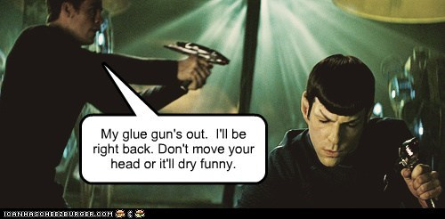 glue gun,Captain Kirk,ears,Spock,Zachary Quinto,drying,Star Trek,chris pine