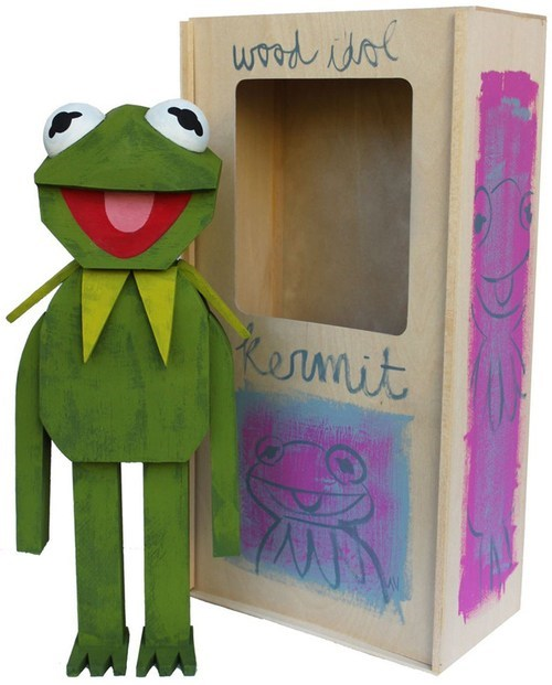 kermit the frog,muppets,art,sculpture,Painted,wood,handmade,Sesame Street