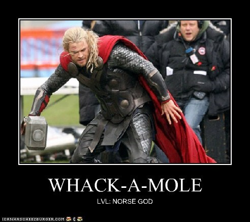level,god,Thor,hammer,norse,The Avengers,mjolnir,whack a mole,chris hemsworth