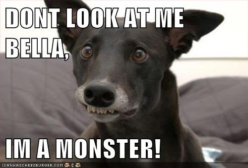 DONT LOOK AT ME BELLA,  IM A MONSTER!