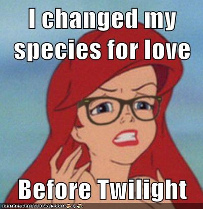 ariel,disney,hipster,meme,twilight,The Little Mermaid,walt disney,funny