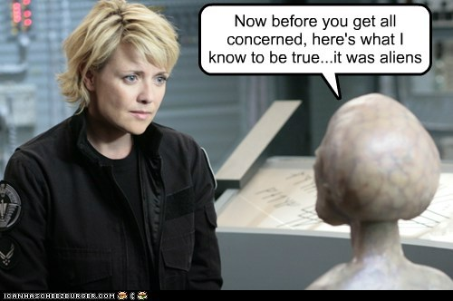 obvious,Aliens,samantha carter,amanda tapping,explain,Stargate
