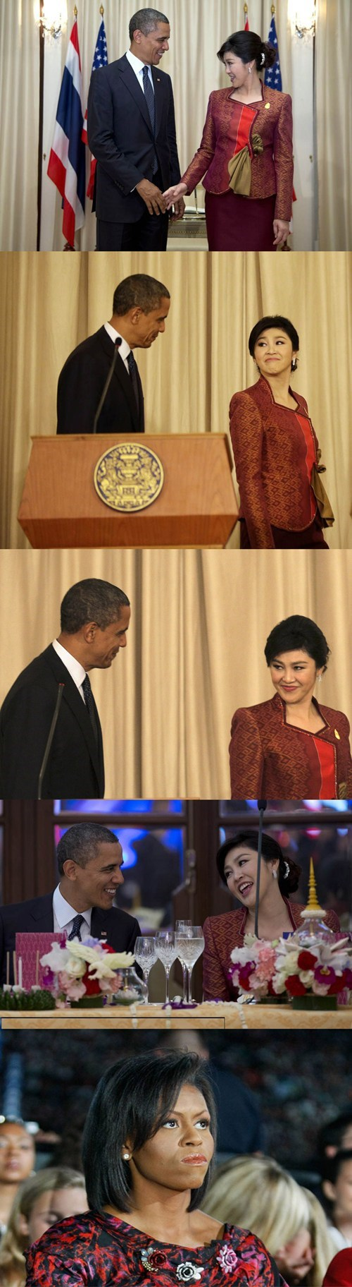 jealous,flirting,Yingluck Shinawatra,barack obama,angry,Michelle Obama