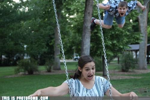 swingset,scary,having fun