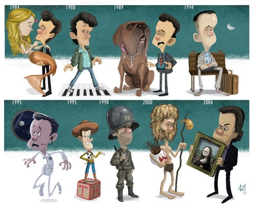 Artistic Tribute to Nine Memorable Films Starring Tom Hanks