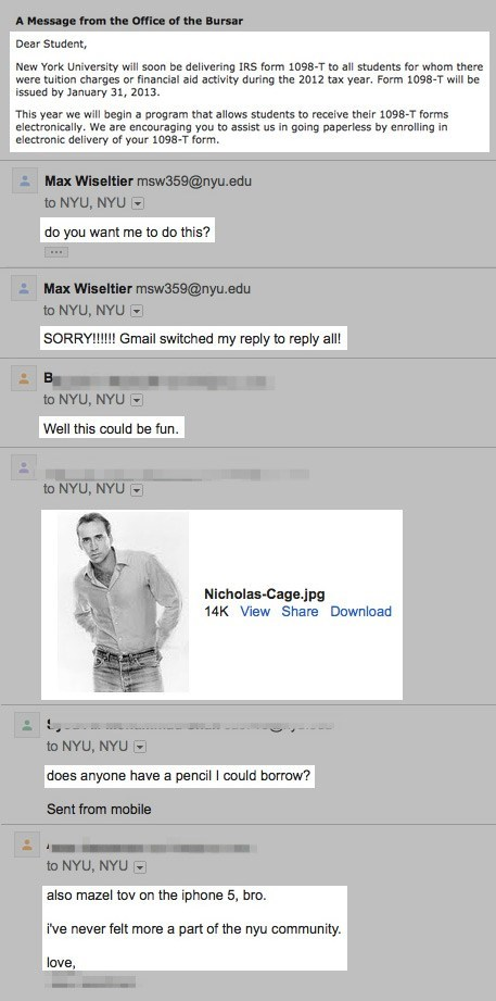 """NYU Student Accidentally E-mails 40,000 Students with """"Reply All,"""" A Wildfire of Lulz Ensues"""