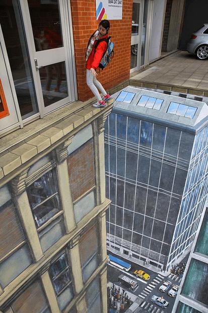 Street Art,chalk art,perspective,vertigo,illusion