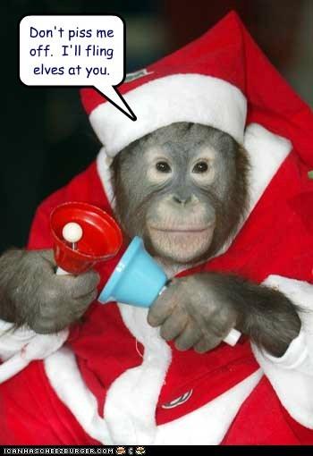 christmas,poop,flinging,pissed off,santa,threat,orangutans,elves