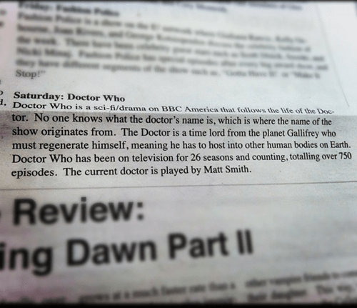 FAIL,wrong,doctor who,high school,description,newspaper