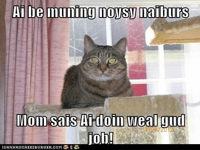 Ai be muning noysy naiburs  Mom sais Ai doin weal gud job!