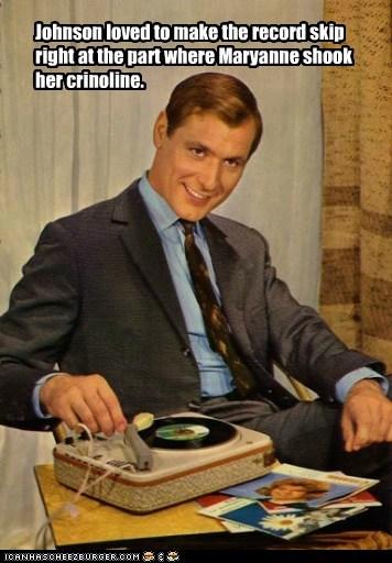 record player,man,leering,creepy