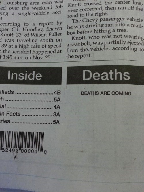 scary,Death,obituary,ominous,coming,newspaper