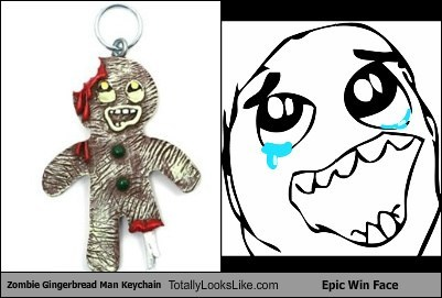 Zombie Gingerbread Man Keychain Totally Looks Like Epic Win Face