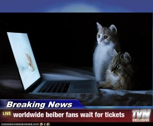Breaking News - worldwide beiber fans wait for tickets