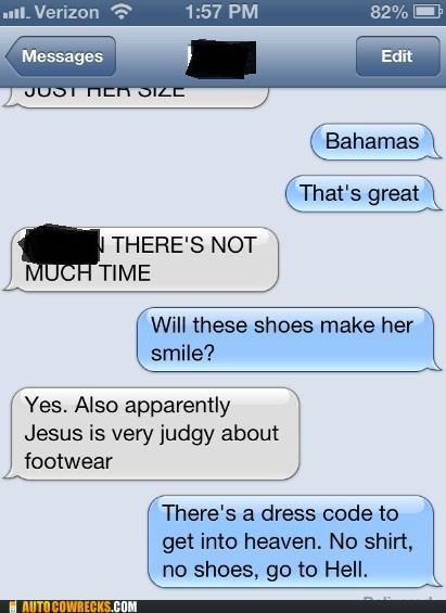 mandatory,shoes,heaven,faith,iPhones,hell
