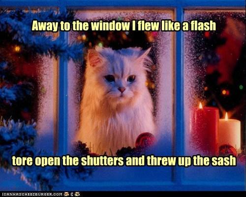 Away to the window I flew like a flash