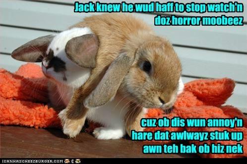 hair,horror movies,scary,bunnys,puns,neck,hares,rabbits
