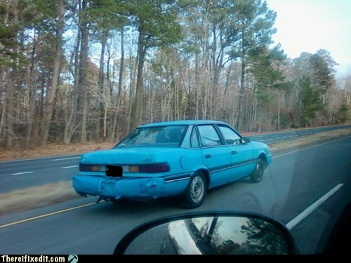 car bumper,bumper fix,duct tape,blue duct tape