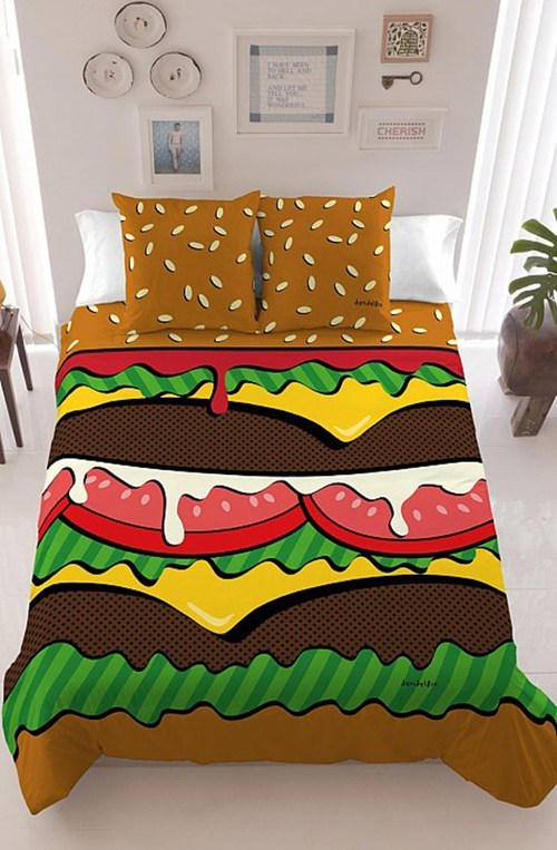 bed,burger,decor,sheets,bedroom,home