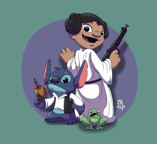 mashup,star wars,fan art,lilo and stitch,Han Solo,Princess Leia