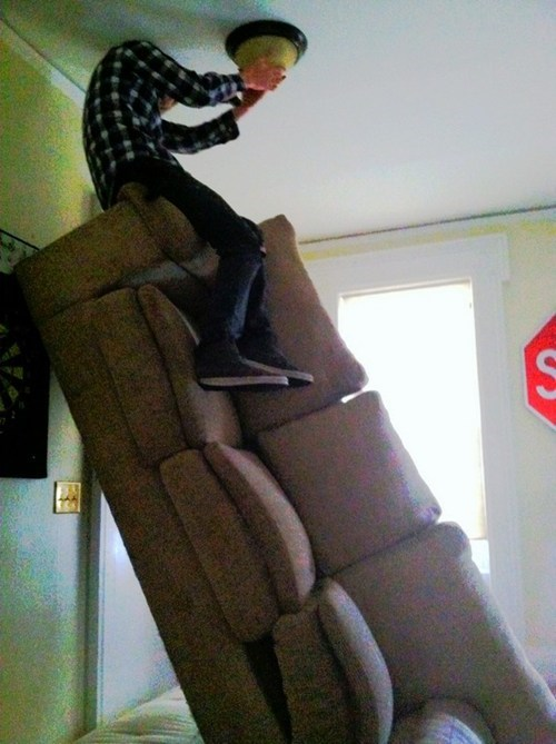 ladder,couch,light bulb,dangerous