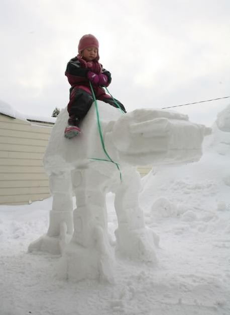 scifi,at-at walker,star wars,snowmen,snow sculptures,at at