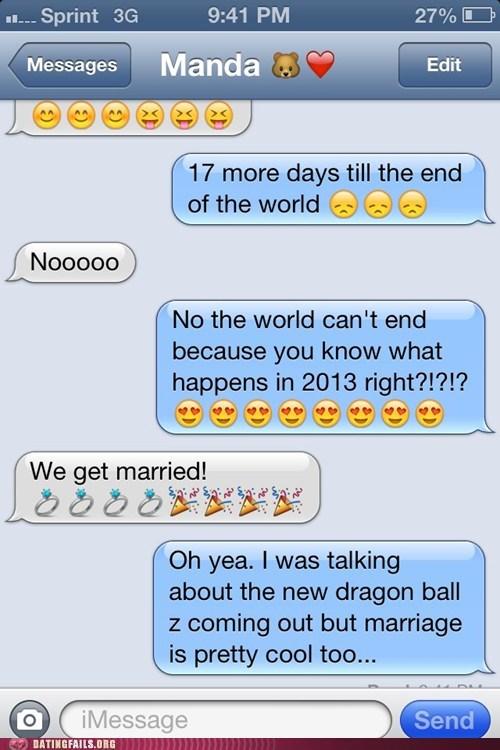 iPhones,Dragon Ball Z,wedding,priorities,married