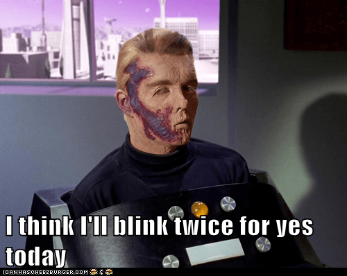captain pike,blink,sean kenney,the menagerie,mix up,Star Trek,yes