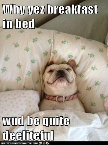 Why yez breakfast in bed  wud be quite deeliteful