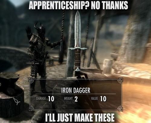 master,iron dagger,apprentice,Skyrim