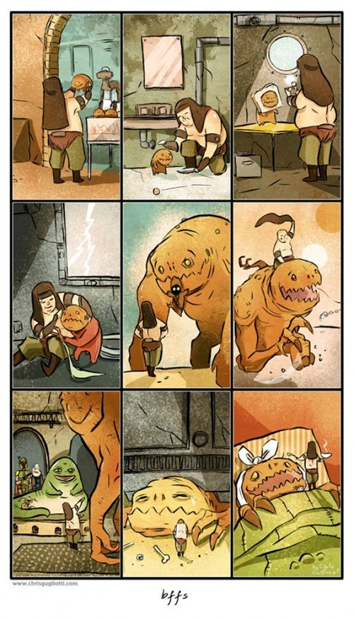 rancor,star wars,BFFs,friends,cute,comic