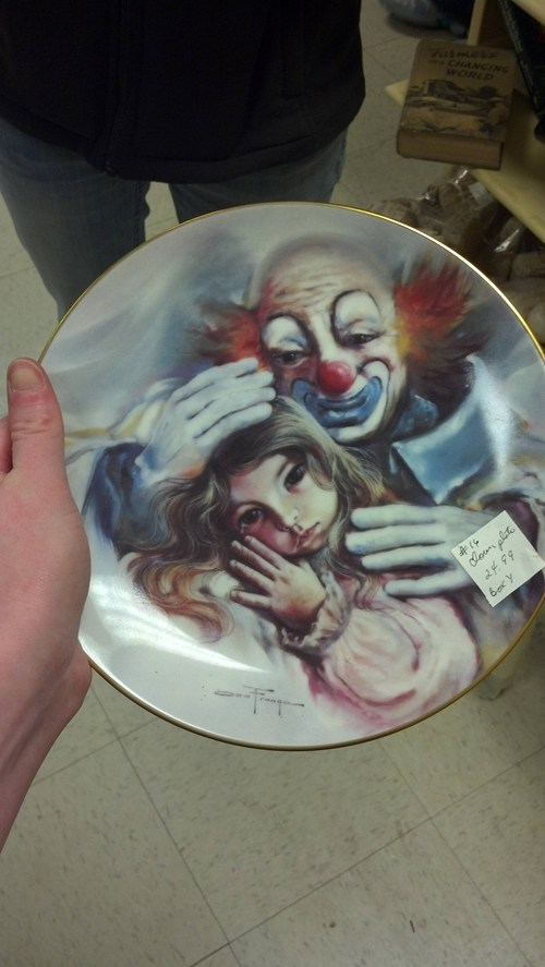 clowns,creepy,nightmare fuel,antique,store,crying
