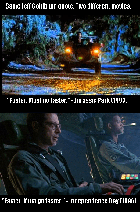 Same Jeff Goldblum Quote in Two Separate Movies