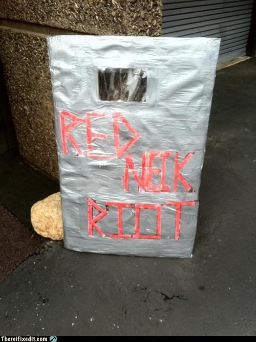 riot shield,redneck riot,plastic bottles,duct tape,cardboard