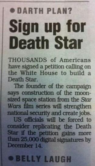 star wars,Movie,Death Star,petition,news paper